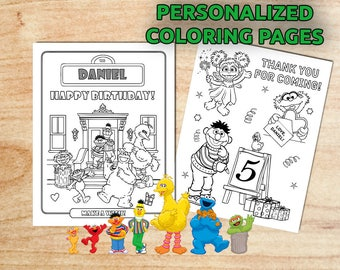 Sale! Sesame Street 10 Party Coloring Pages / Personalized / Printable / Birthday /Digital PDF
