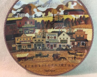 Bradford Exchange Charles Wysocki's American Frontier Collector Plate - 'Bustling Boomtown' (#196)