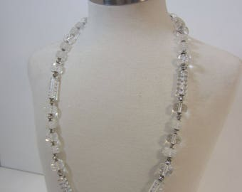 Vintage Signed Miriam Haskell Lucite & Rhinestone Necklace