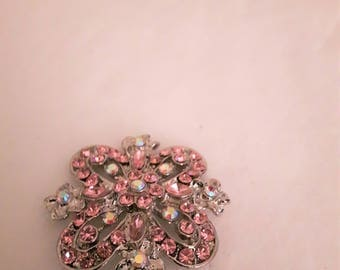 Vintage Marked Pink and Clear Swarovski Rhinestones Brooch - Silver Tone - 1970s