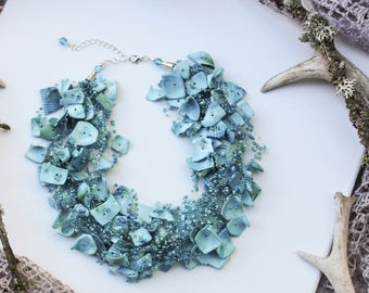 Sea blue necklace Shell necklace Beaded jewelry Air necklace Natural jewelry Mermaid necklace Bib necklace Crocheted jewelry Beach necklace