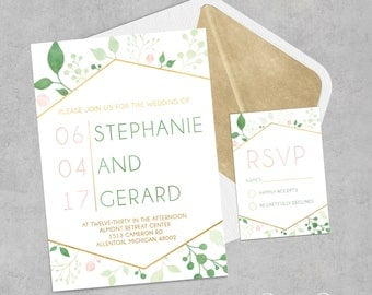 Gold Geometric Wedding Invitation | Modern Floral Wedding Invitation | Botanical Wedding Invitation