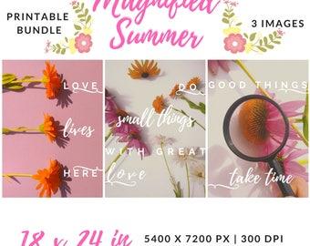 Art Prints Bundle, Quote Printable Decor Bundle, Quote Decor Set, Flower Photo Bundle, Housewarming Gift Printable, Dorm Room Decor For Girl