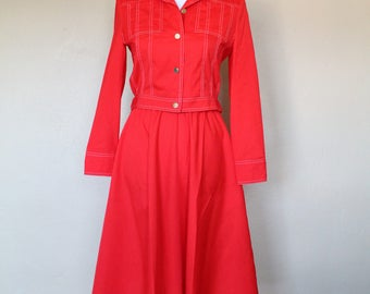 1970s Red Skirt and Jacket Set