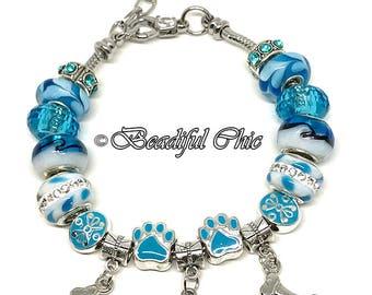 I Love My Dog European Style Charm Bracelet