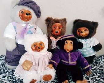 Vintage Robert Raikes Wooden Face Bears and Monkey