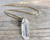 Long Crystal Necklace // Boho Chic // Raw  Stone Quartz  // Crystal Pendant // Choose Your Stone // Healing Crystal