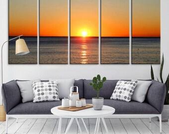 Wall Art See View Beach Canvas Print, Large Wall Art Canvas Print, Sea Wall Art Canvas Print, Extra Large Wall Art Canvas, 5 Panel Wall Art