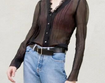 Vintage Sheer Black Silk Delicate Ruffle Blouse LngSlv 90s / Sz XS - S