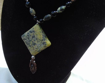 Necklace, jasper pendant, tied knotted lanyard, shipped free