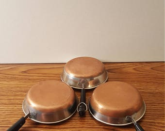 3 Stainless Steel Copper Clad Ultra Mini Fry Pans (Decorative Only)