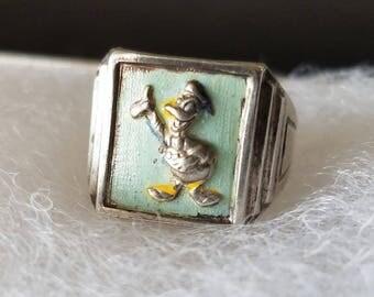 1948 Donald Duck Walt Disney Prod. Ingersoll Sterling Silver Ring