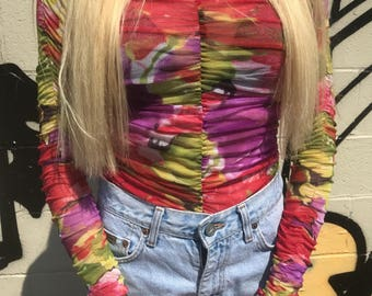 Vintage 90s Watercolor Floral Print Scrunched Sleeve Shirt