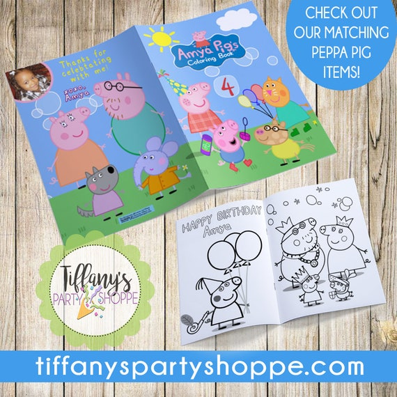 Custom Peppa Pig Coloring Book Peppa Pig Party Favor Peppa Pig
