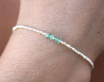 Emerald Bracelet-Sterling Silver Beads-Dainty Bracelet - Genuine Emerald-Beaded bracelet-May Birthstone-Bracelet Gemstone-Gemstone Jewelry