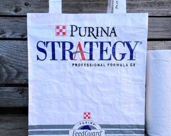 Recycled Feed Bag Tote, reusable tote bag, grocery tote, recycled shopping bag, reusable grocery bag, recycled tote bag, Purina Strategy