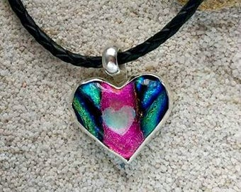 Ashes in Glass Aurora Heart Memorial Necklace, Pet Memorial, Cremation Jewelry