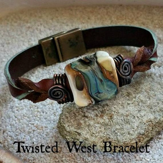 Memorial Blown Glass Single Twisted Leather Bracelet with magnetic clasp