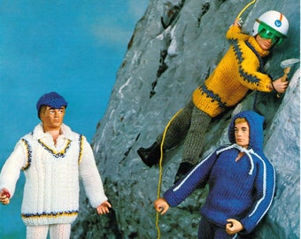 Doll Knitting Pattern Action Man Ken Outfits Cricket Mountaineering Tracksuit Trousers  Action Man Knitting Doll 4 Ply Instant Download