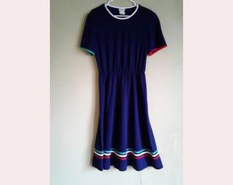 90's Navy blue Striped Sundress size 12