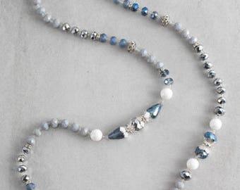 Nadia Beaded Necklace   Blue