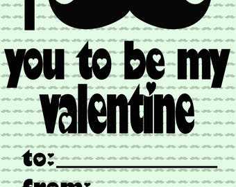 I Mustache You To Be My Valentine Valentine's Day Card
