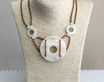 Necklace with mother of pearl and glass beads, beaded necklace with huge pendant of nacre  and glass beads, round nacre pendant necklace