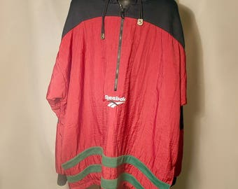90s Reebok Burgundy Black Green White Windbreaker Hoodie Sz XL X-Large 1/2 1/4 Zip Maroon Logo Streetwear Grunge Basketball Weather Rain