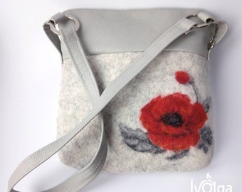 Small Felted Wool Purse Zippered Shoulder Bag Elegant Poppy Grey Faux Leather Pockets Unique Felting Natural Textile Floral Gift For Mother
