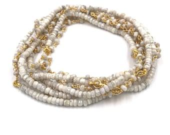 "Long 72"" light gray silverite necklace"