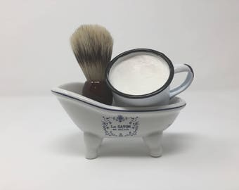 Badger Hair Shave Brush & Enamel Tin Shave Cup with Foaming Shave Soap Set - (Unscented) Chesilhurst Farm