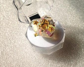 Unicorn Stars Ring, Kawaii Resin Ring, Soft Grunge, Heart Resin Ring, Pastel Grunge, Unicorn Ring, Pastel Goth, Love Ring, Magical Girl