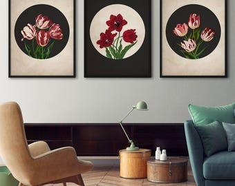 Botanical print set, Tulips – Botanical print, Kitchen art, Botanical set, Vintage botanical prints, Tulip prints, Red flowers, Wall art