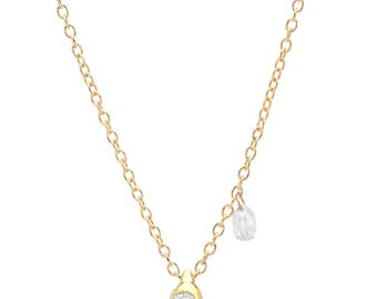 ROSÉE (dew drop) 14k Gold + briolette diamond pendant