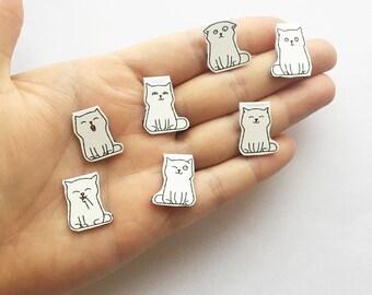Cat bookmark / Magnetic bookmark / White cat bookmark / Small bookmark / Animal bookmark / Gift idea / Bookish / Bookworm