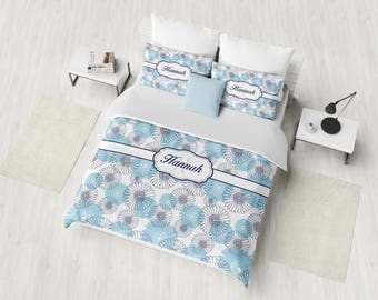 Monogram Bedding Set, Personalized Duvet Cover Set, Custom Bedding, Blue Floral Bedding, Twin, Full, Queen, King, Girl Bedding with Name
