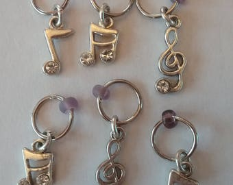 musical notes stitch markers