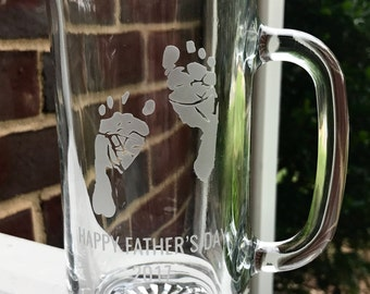 Custom Handprint Beer Mug, Glass Tankard, New Dad Gift, First Father's Day, Footprint, New Dad, Personalized,