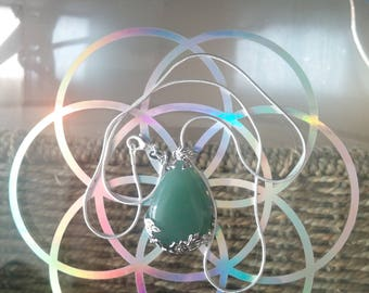 Green Aventurine crystal necklace with 925 silver chain