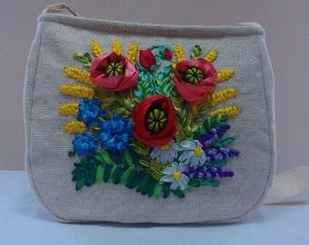 Embroidered ribbons bag.Ribbon embroidery.Handbag.Hand embroidery.Floral bag.Wheat.Poppies.Embroidered bag.Beige bag.Hobo bag.Shoulder bag.