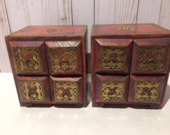 Vintage Box, Wood, Brass Filigree, Knick Knack Box