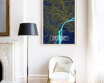 Detroit City Map Print, Custom Map Print, Map, Wall Art, Map Wall Art, Detroit Map, Travel Gift, Housewarming Gift, City Map Print