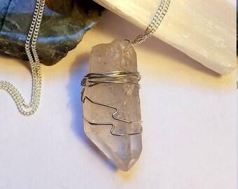 Quartz Necklace Wire Wrapped Quartz Necklace Quartz Crystal