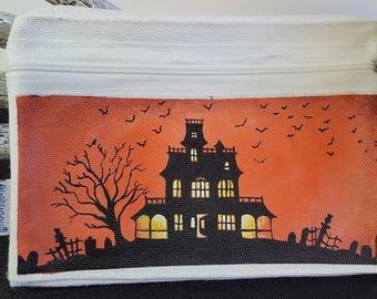 Hand-painted Halloween Haunted House Silhouette Graveyard Bats Wallet Wristlet Zippered Bag 5 x 7