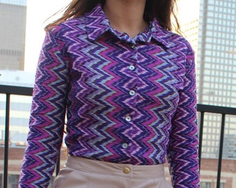 vintage 90's chevron missoni style button up