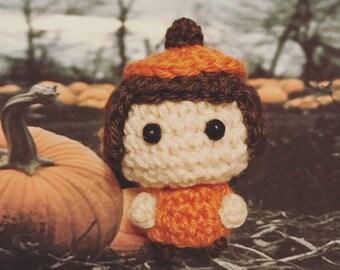 Halloween, Halloween costume, pumpkin, pumpkingirl, Amigurumi, crocheted figurine, doll, presentidea, autumntime, Halloweentime, kawaii