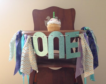 Girl Mermaid First Birthday High Chair Banner/Under the Sea/Summer Theme/Cake Smash/Photo Shoot Prop/Party Decor/Glitter One & Name Banner