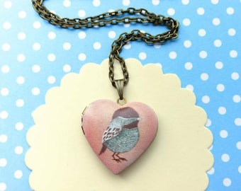 Pink bird locket necklace bird locket bird locket pendant necklace bird jewelry bird jewellery bird heart shaped locket necklace