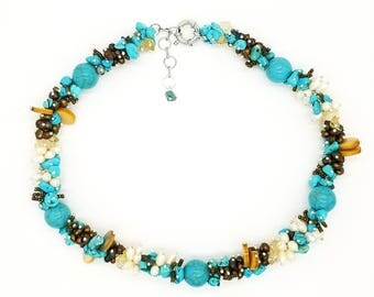 """18"""" Torsade style/Fresh water pearls, Magnesite, seed beads, Citrine statement necklace."""