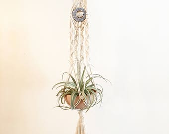 The Bixby - Macrame Plant Hanger with Ceramic Detail